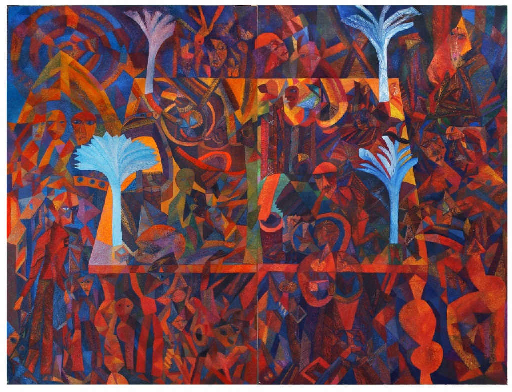 Four Trees h.244cm x w. 305cm; two panel oil on canvas