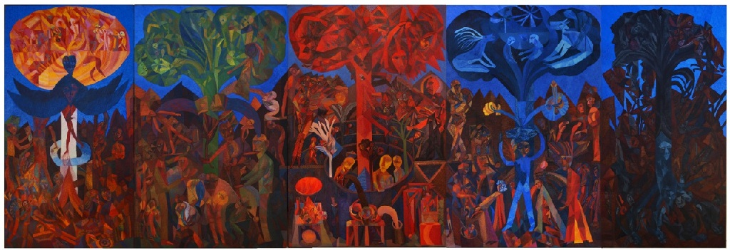 Five Trees 240cm x 700cm; five panels, oil on canvas