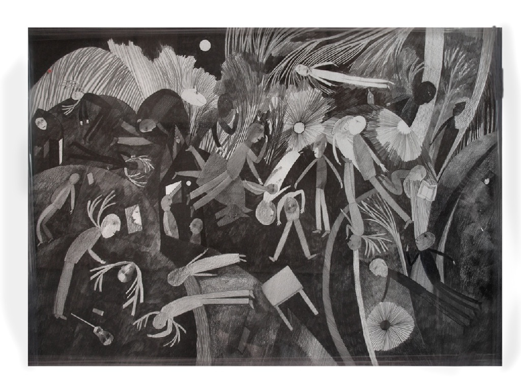 In the Seven Woods 32 h.56cm c w.76cm; graphite on paper