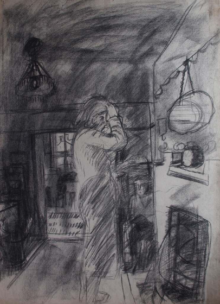 Ann in Mirror h.76cm x w. 56cm; crayon on paper