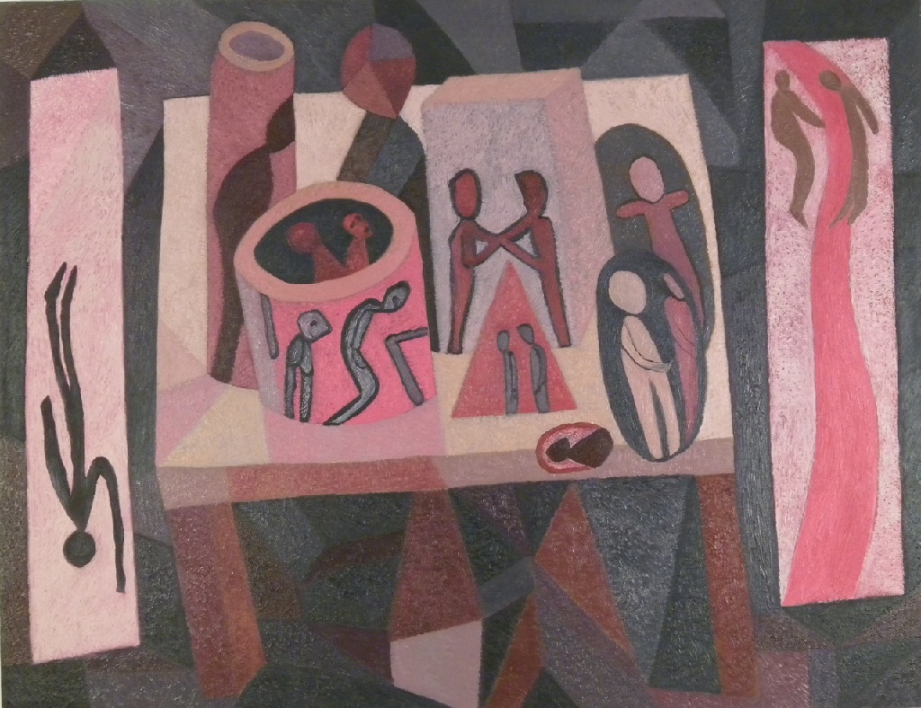 Side panel – Figures on a Table h.76.5cm x w.76.5cm; oil on canvas