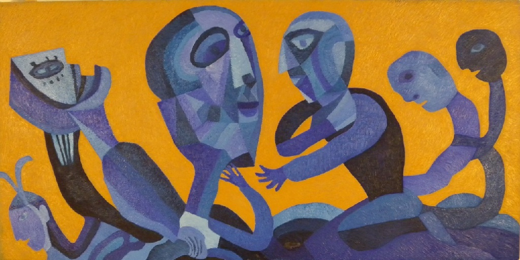 Side panel – Blue figures on a Ochre Ground h.61cm x w.122cm; oil on canvas
