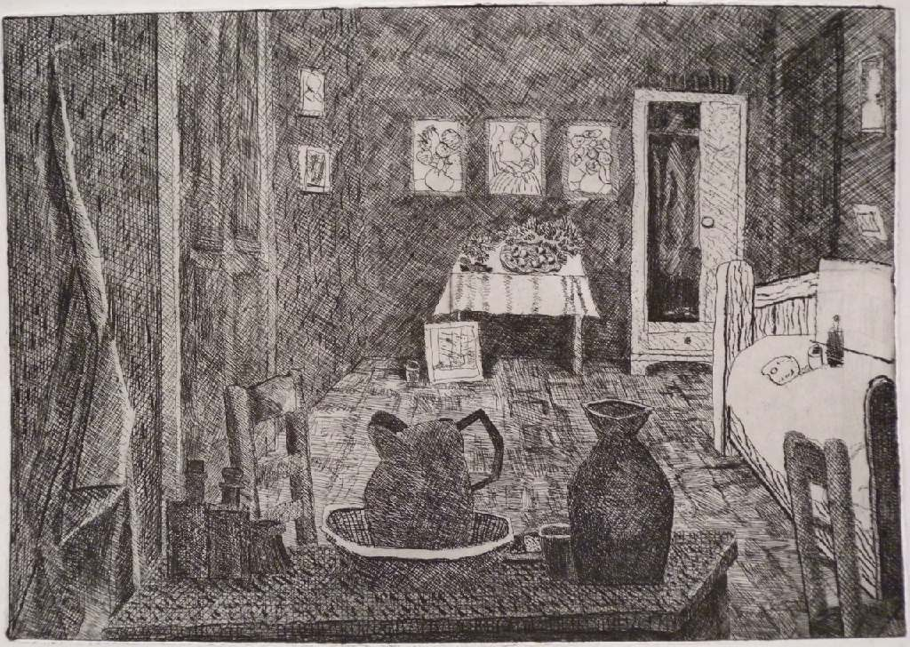 Vincent's bedroom table h.31.3cm x w.45cm, etching