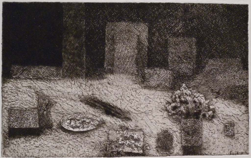 Vincent's table 2 h.20.2cm x w.25cm, drypoint
