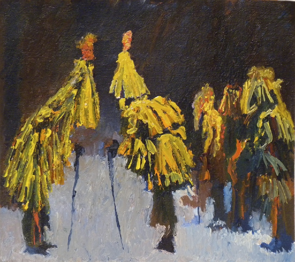 Group of Mummers h.24.7cm x w.19.6cm; oil on  canvas