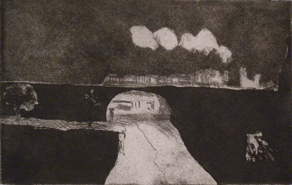 Vincent under the bridge h.31.5cm x w.36.8cm, etching