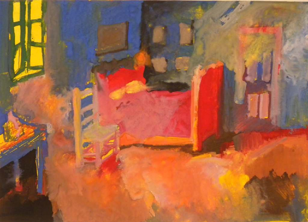 Vincent's Bedroom h16.5cm x 23.3cm; gouache on paper