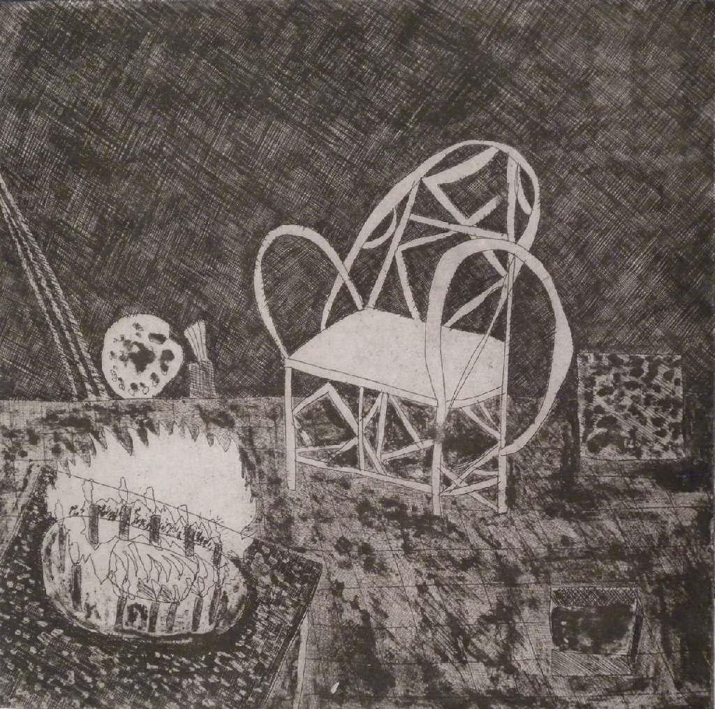 The chair h.58cm x w.45cm; etching