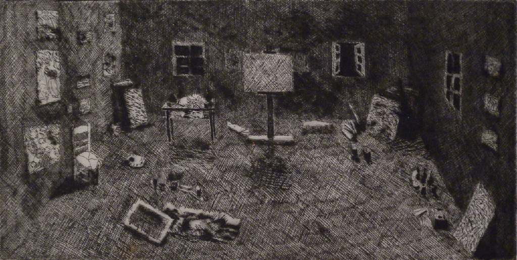 The studio h.24.5cm x w.27.3cm; drypoint