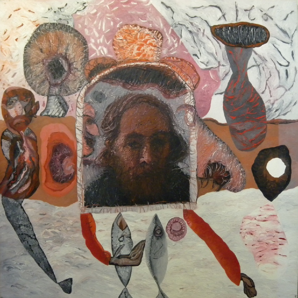 Self-portrait with fungi and fish h.131cm x w.131cm