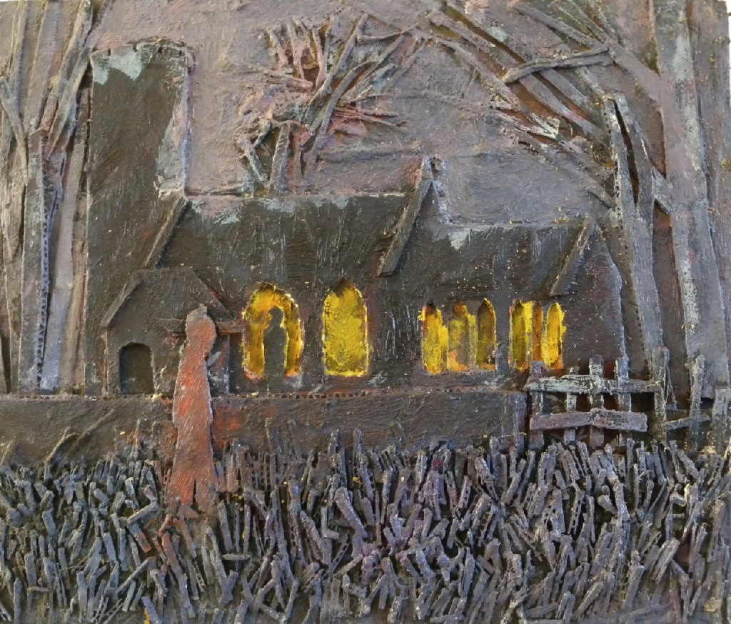 In the Churchyard – painted card relief