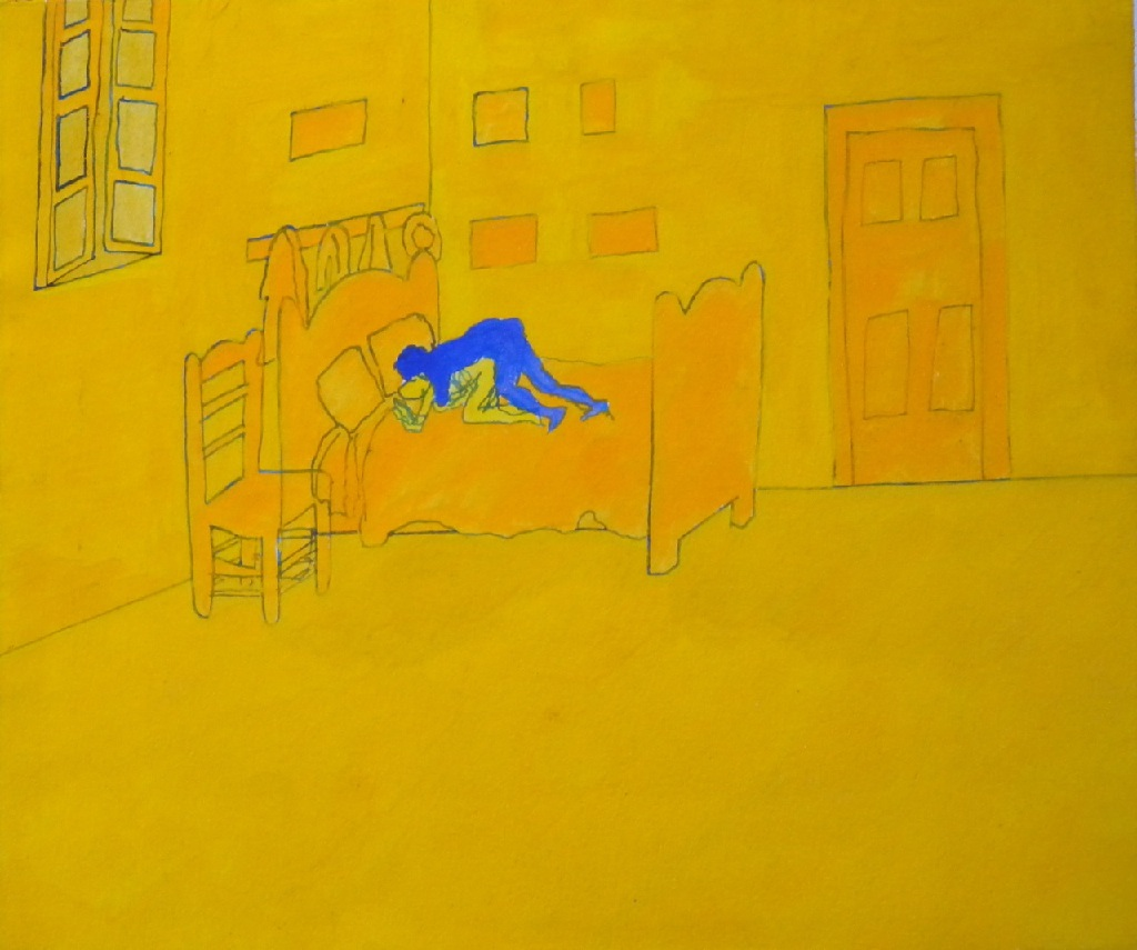 In the Bedroom h.24.8 x w.29.1; gouache on paper