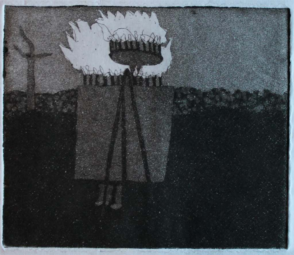 Flaming Easel h.9.9cm x w.13.1cm, etching