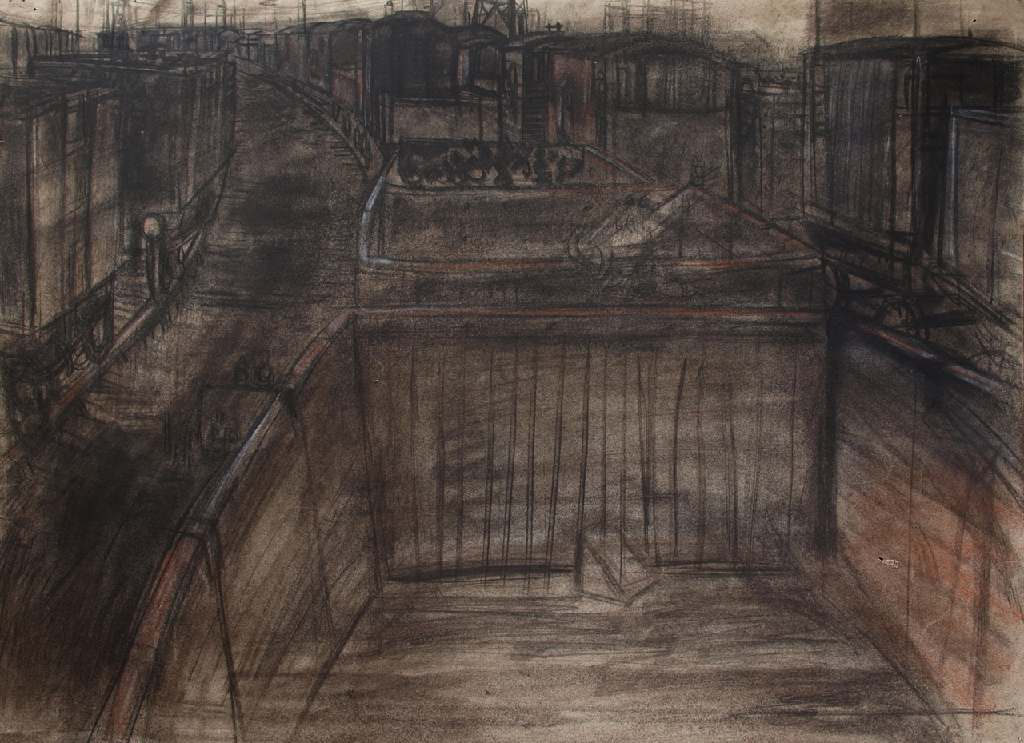 Railway sidings h.56cm x w. 76cm; crayon on paper