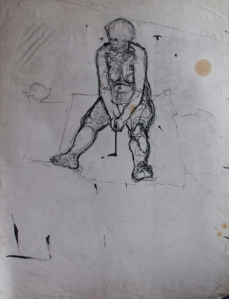 Life model h.76cm x w. 56cm; pencil on paper