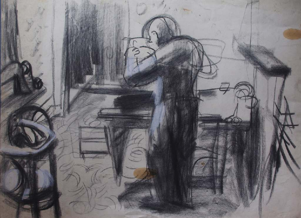 Sam at work h.56cm x w. 76cm; crayon on paper