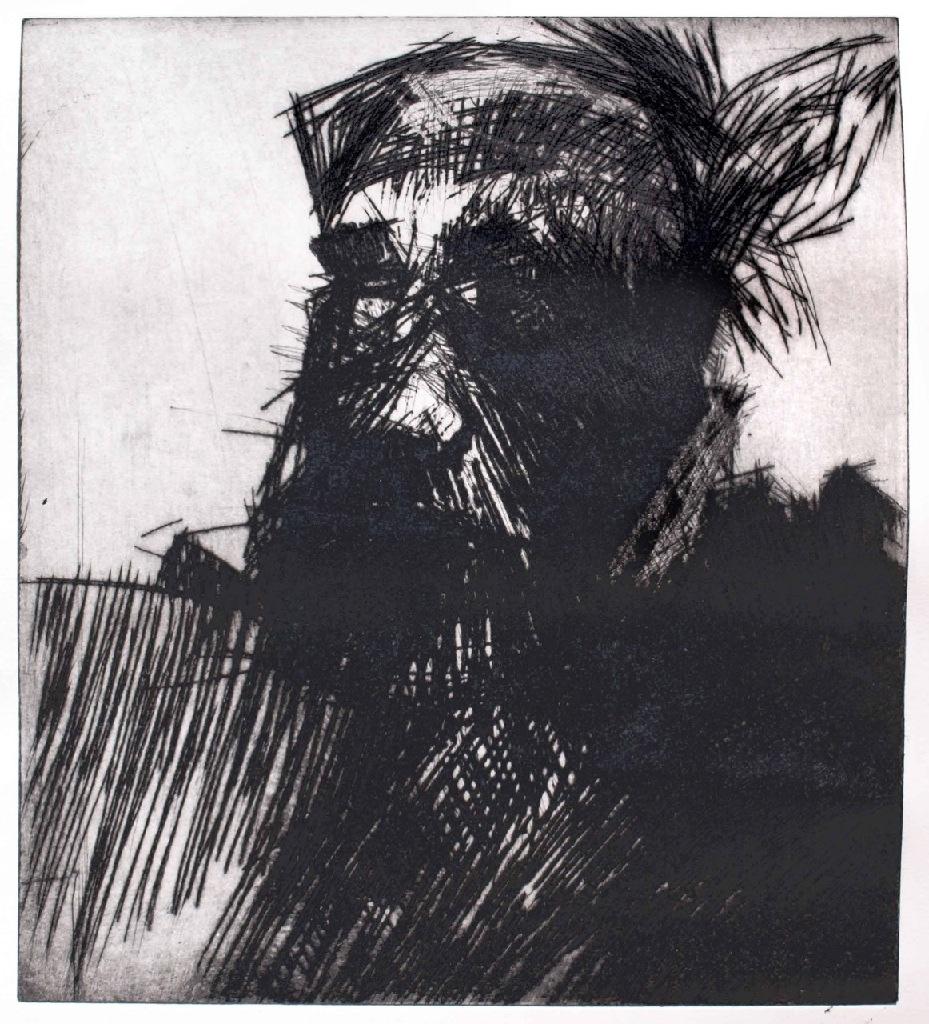 Self portrait drypoint 1h.44cm x w.40cm