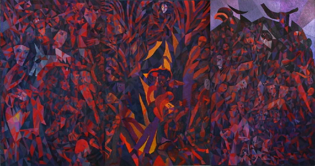 Split Tree h244cm x w. 458cm; three panel oil on canvas