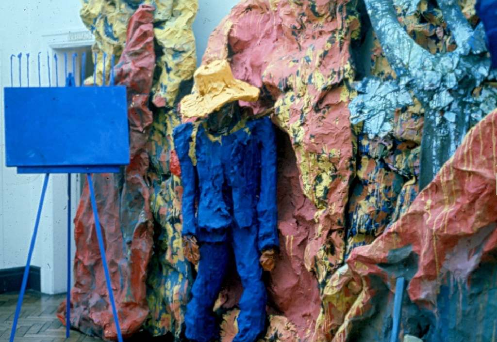 The Blue Man; papier-mache painted construction
