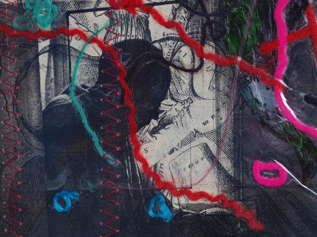 Stitched self-portrait collage close up